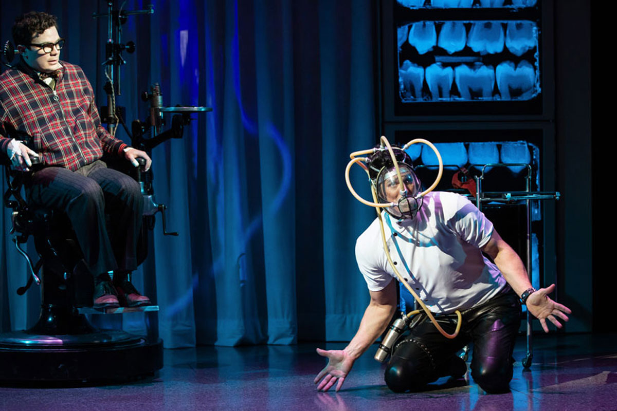 André Morin (left) as Seymour Krelborn and Dan Chameroy as Orin, the Dentist, in Little Shop of Horrors. Photography by Cylla von Tiedemann.