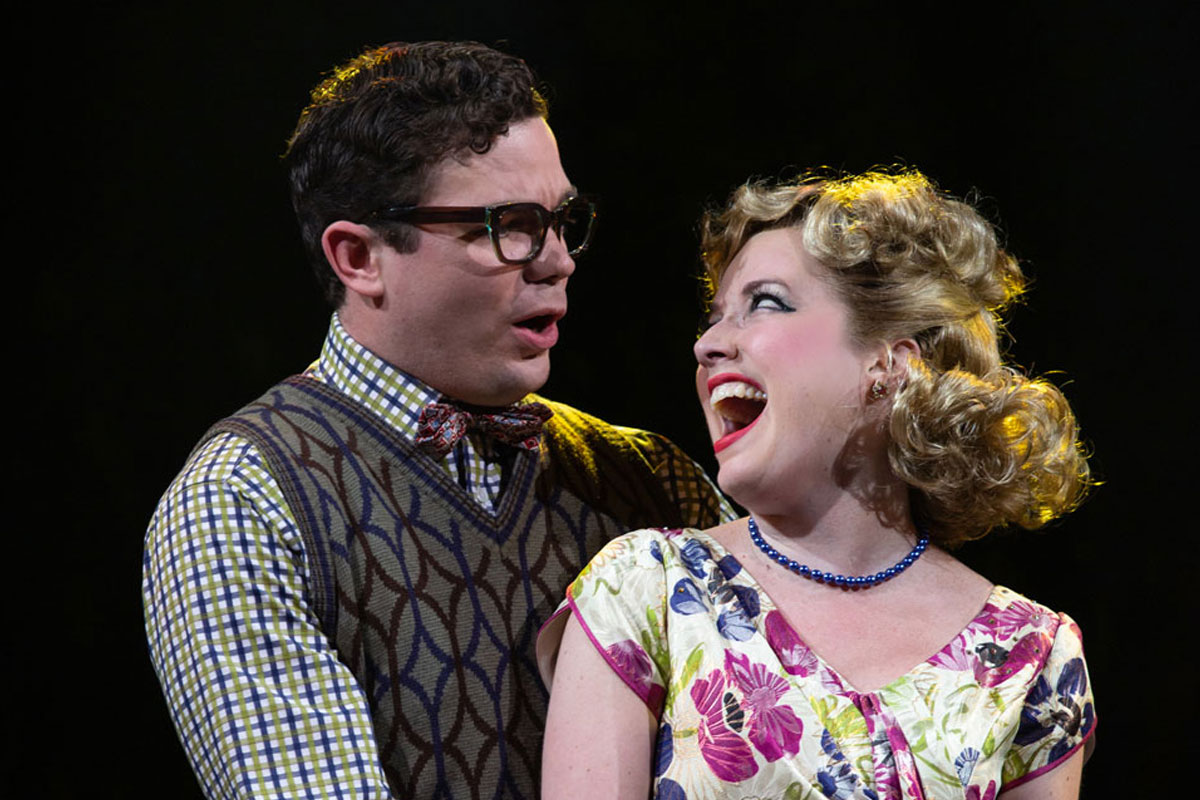 André Morin as Seymour Krelborn and Gabi Epstein as Audrey in Little Shop of Horrors. Photography by Cylla von Tiedemann.